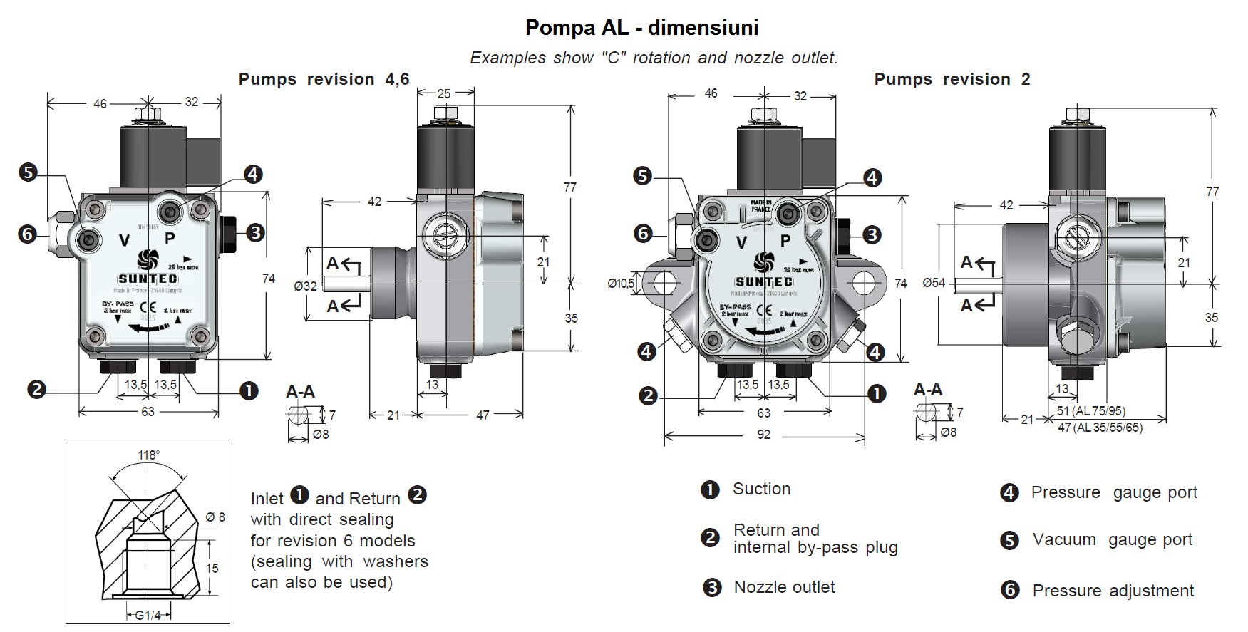 Pompa combustibil SUNTEC AL - dimensiuni
