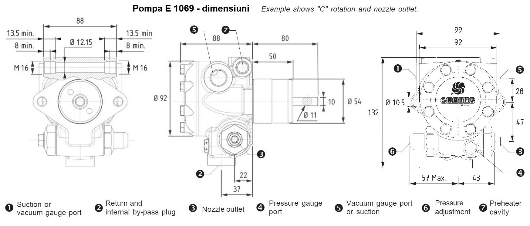 Pompa combustibil SUNTEC E - dimensiuni