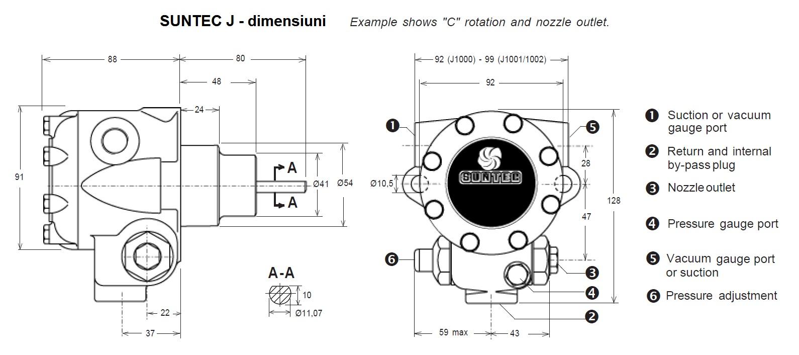 Pompa combustibil SUNTEC J - dimensiuni