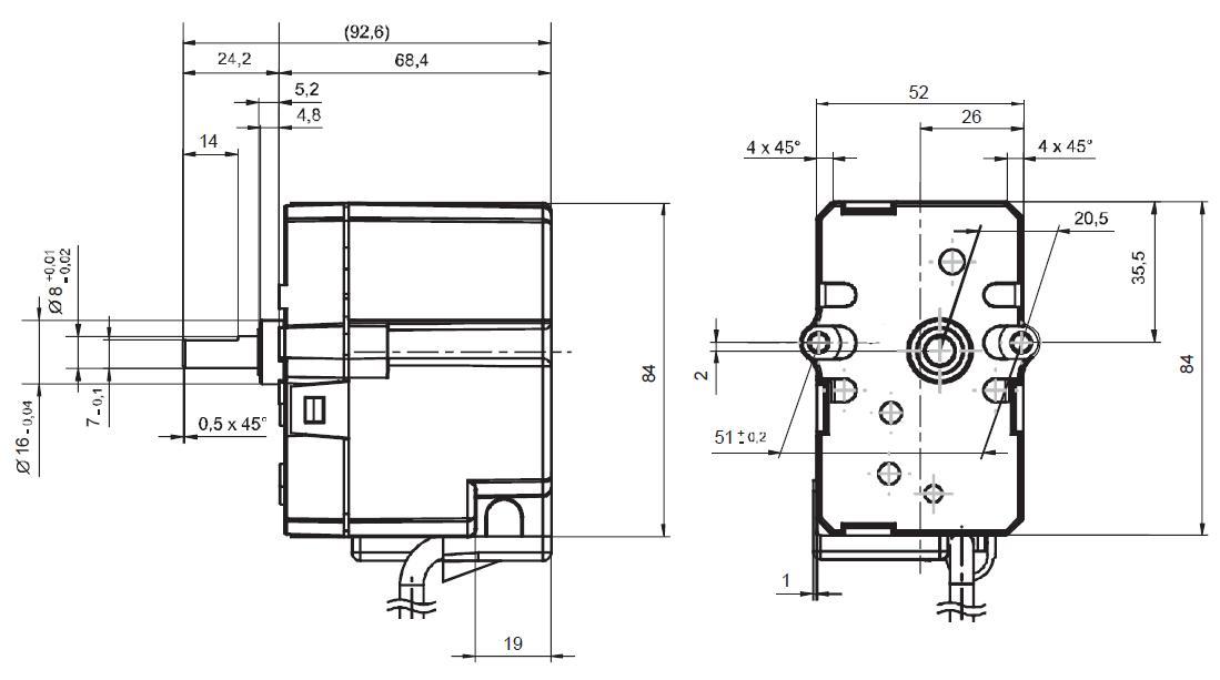 Servomotor SIEMENS SQN13…, SQN14… - dimensiuni
