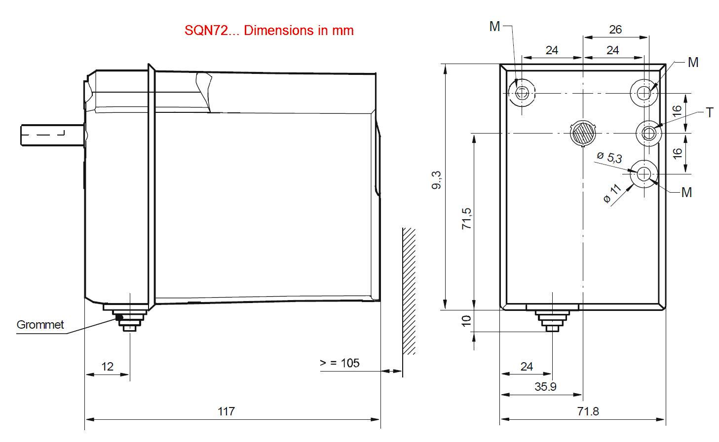 Servomotor SIEMENS SQN72… - dimensiuni