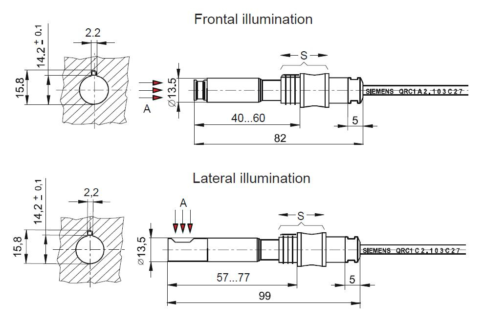 Detector de flacara SIEMENS QRC - dimensiuni
