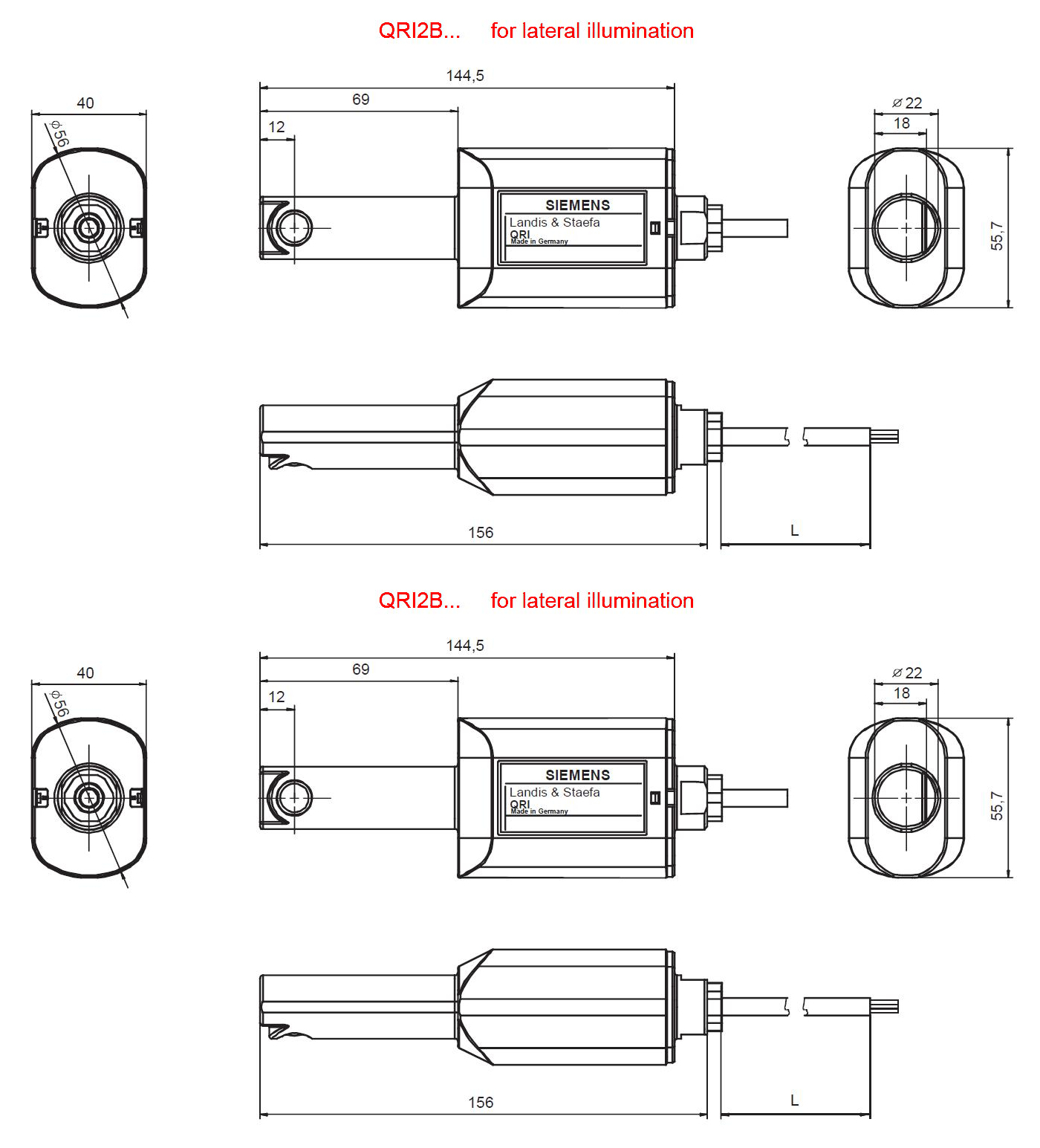 Detector de flacara SIEMENS QRI - dimensiuni