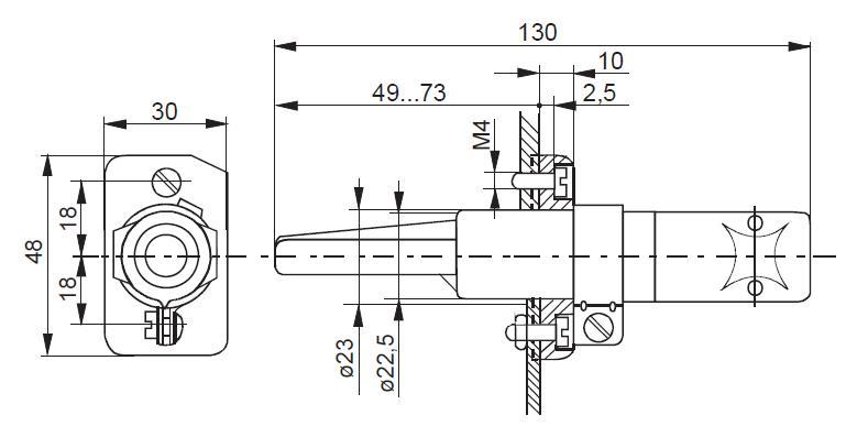 Detector de flacara SIEMENS RAR9 - dimensiuni