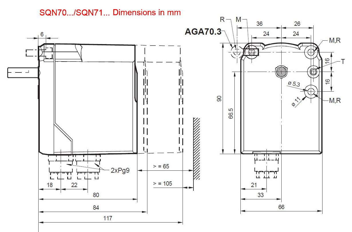 Servomotor SIEMENS SQN70…, SQN71… - dimensiuni