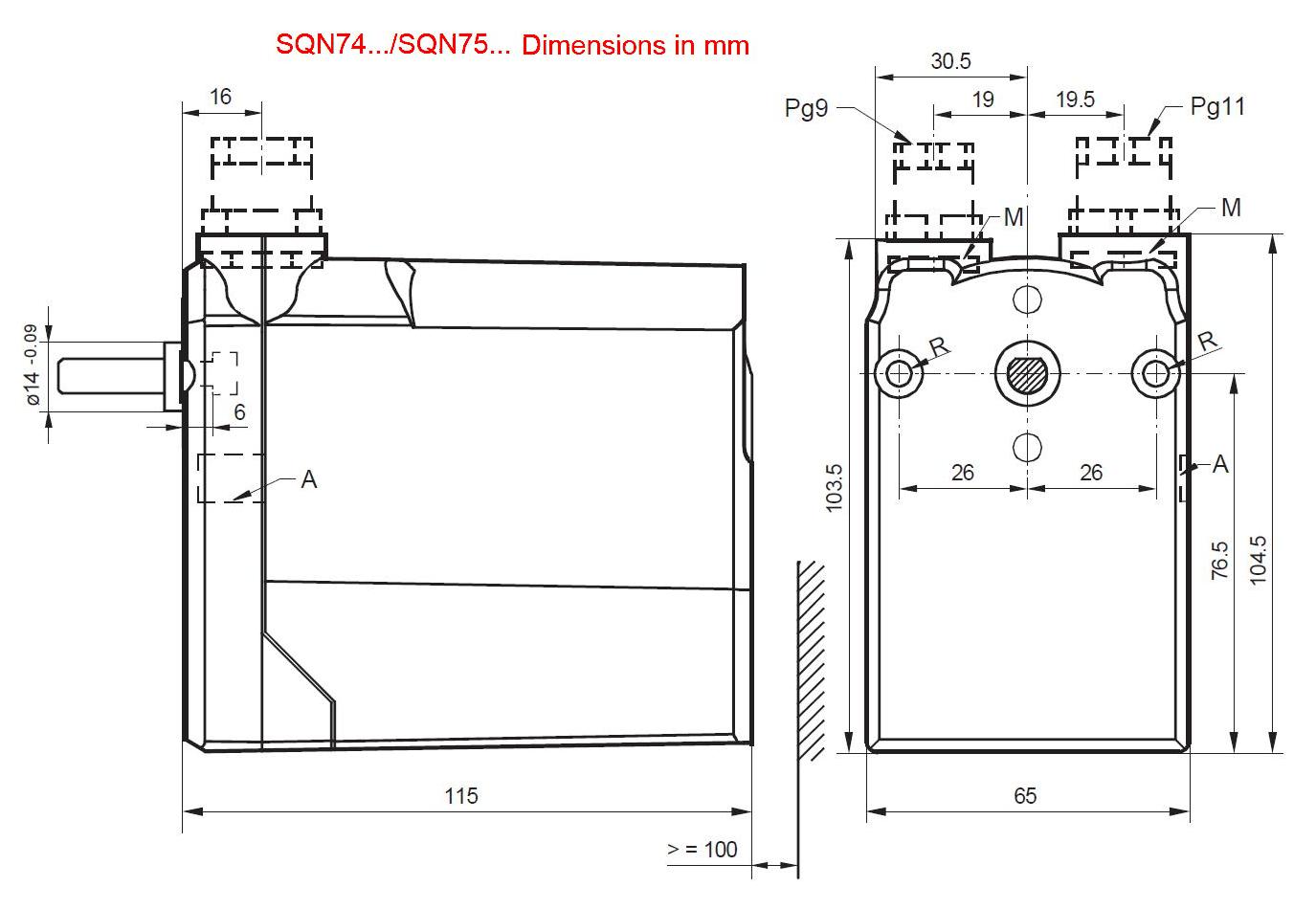 Servomotor SIEMENS SQN74…, SQN75… - dimensiuni
